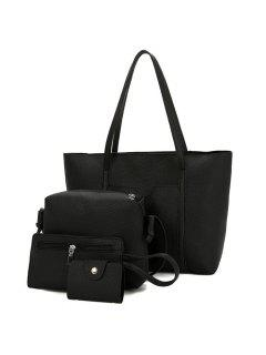 Textured Leather 4 Pieces Shoulder Bag Set - Black