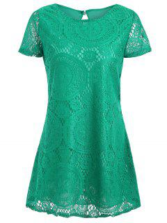 Short Sleeve Plus Size Lace Long Tee - Green Xl