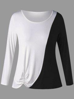 Plus Size Two Tone Long Sleeve Shirred T-shirt - White And Black 5xl