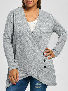 Plus Size Button Fly Heather Tunic Top - Light Gray 4xl