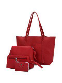 Textured Leather 4 Pieces Shoulder Bag Set - Red