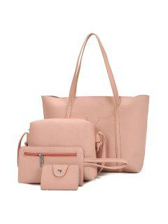 Textured Leather 4 Pieces Shoulder Bag Set - Light Pink