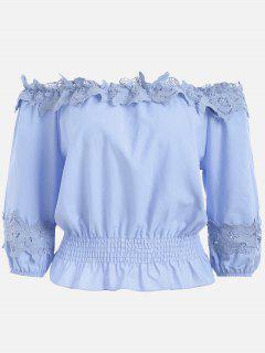 Lace Panel Off The Shoulder Blouse - Blue Violet