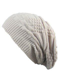 Striped Checked Draped Knitted Hat - Beige