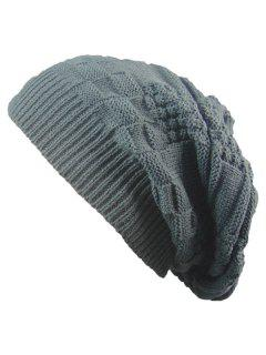 Striped Checked Draped Knitted Hat - Deep Gray