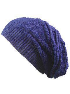 Striped Checked Draped Knitted Hat - Cadetblue