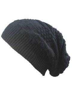 Striped Checked Draped Knitted Hat - Black