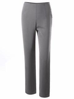 Pantalon Robe à Bouton Latéral - Gris Léger Xl