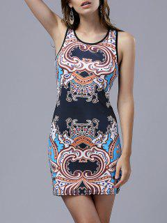 Vintage Print Round Neck Sleeveless Bodycon Dress - L