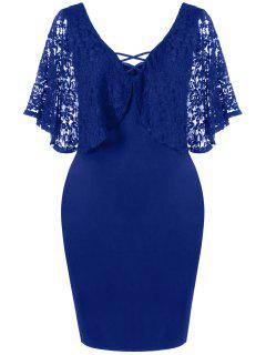 Plus Size Batwing Lace Sleeve Bodycon Dress - Deep Blue 3xl