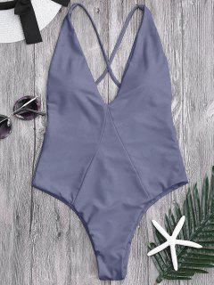 One Piece High Cut Cross Back Swimwear - Gray S