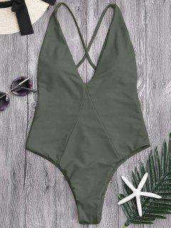 One Piece High Cut Cross Back Swimwear - Army Green S
