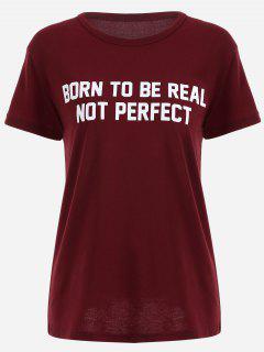 Camiseta Redonda Del Oscilación De La Impresión De La - Vino Rojo M