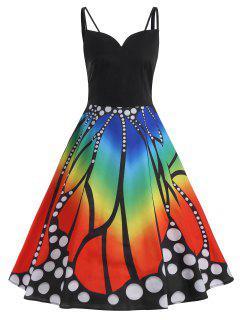 Butterfly Print Spaghetti Strap Plus Size Flare Dress - 2xl