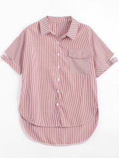 Tasche Knopf Oben Gestreiftes Shirt - Rot Xl