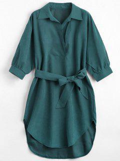 Three Quarter Sleeve Belted Shift Dress - Blackish Green Xl