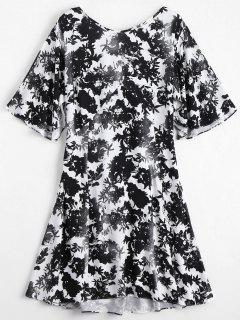 Floral Print Open Back Dress - Floral S