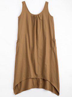 U Neck Sleeveless Asymmetric Dress - Camel L