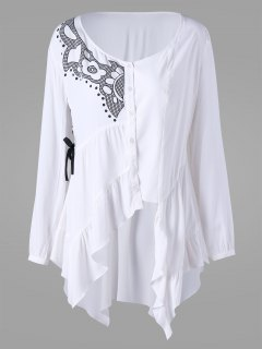 Printed Lace Up High Low Blouse - White 2xl
