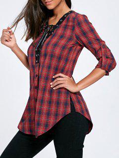 Lace Up Button Up Plaid Langes Hemd - 2xl