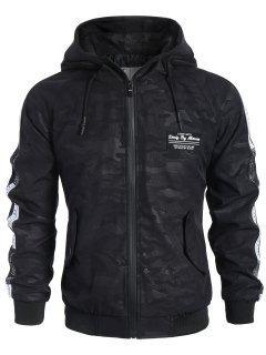 Side Letter Print Camo Hooded Jacket Men Clothes - Black 3xl