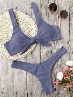 Scrunch Butt Knotted Thong Bikini - Gray Xl
