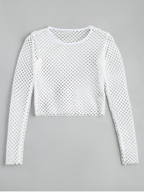 Top en Maille Transparent Court - Blanc M Mobile