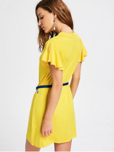 latest Ruffled Sleeve Keyhole Shift Dress - YELLOW L Mobile