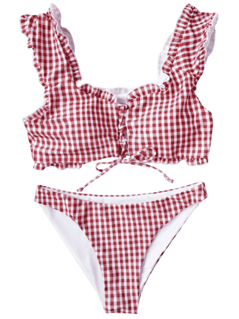 women's Gingham Lace Up Bralette Bikini Set - RED AND WHITE M Mobile