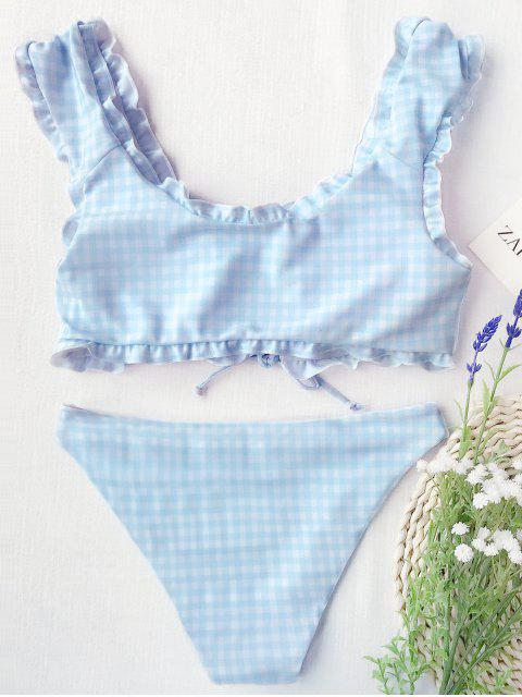 online Gingham Lace Up Bralette Bikini Set - BLUE AND WHITE M Mobile
