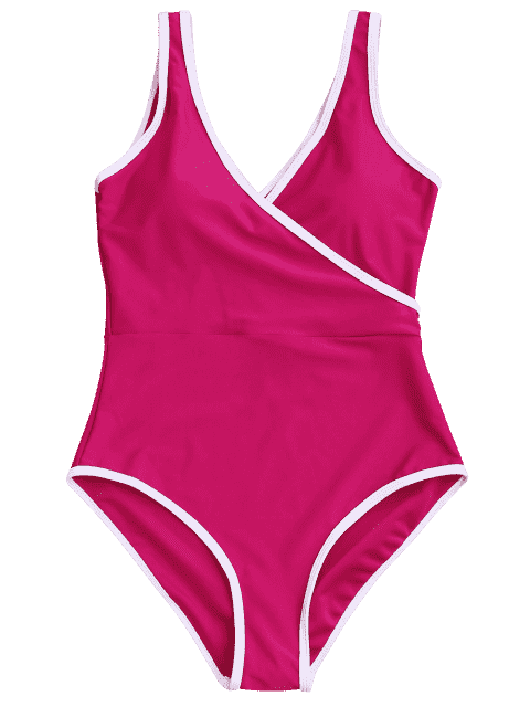 fancy Contrast Trim One Piece Swimsuit - ROSE RED L Mobile