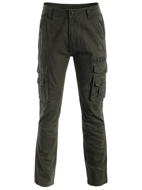 Pantalones de los bolsillos de la aleta - Verde del ejército L Mobile