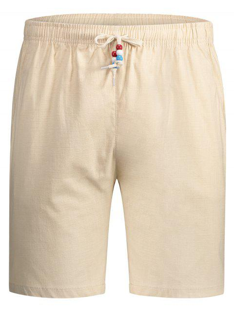trendy Drawstring Beaded Bermuda Shorts - PALOMINO 3XL Mobile