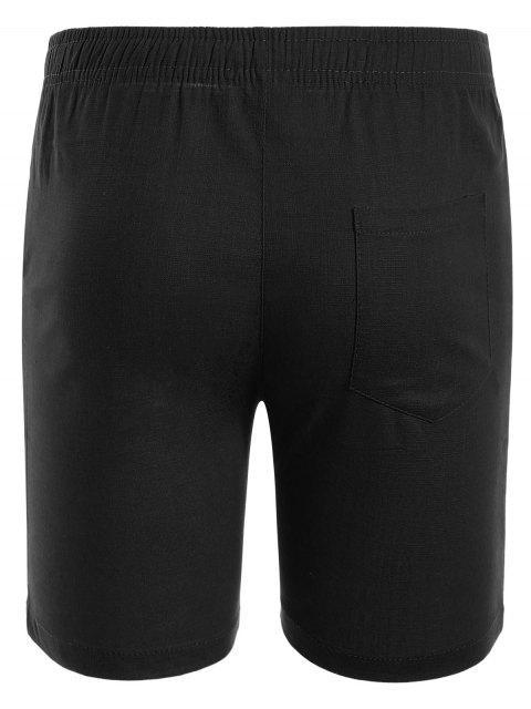 chic Drawstring Beaded Bermuda Shorts - BLACK 5XL Mobile