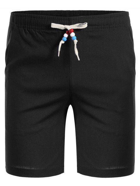 fancy Drawstring Beaded Bermuda Shorts - BLACK 4XL Mobile
