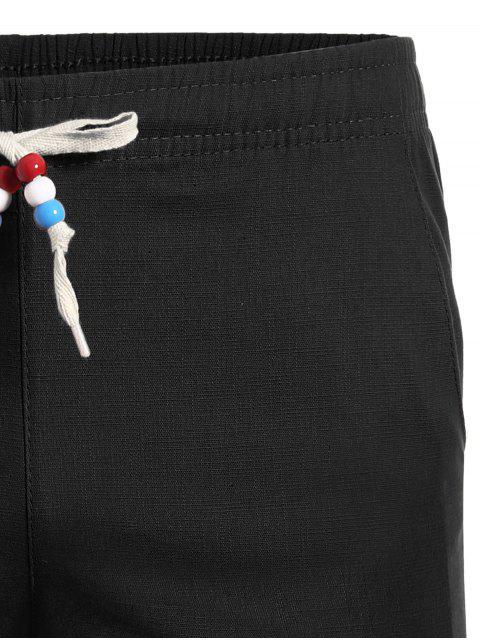 unique Drawstring Beaded Bermuda Shorts - BLACK 3XL Mobile