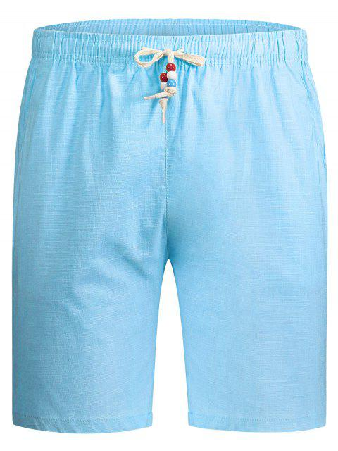 women Drawstring Beaded Bermuda Shorts - LIGHT BLUE 2XL Mobile