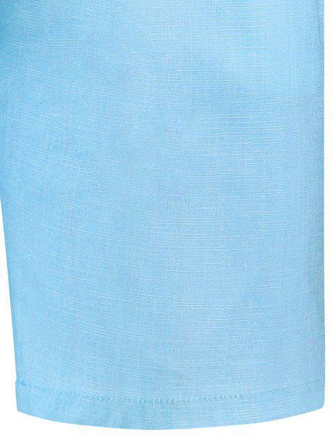 women Drawstring Beaded Bermuda Shorts - LIGHT BLUE 2XL Mobile