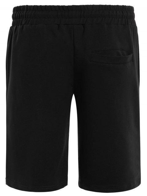 best Side Pocket Drawstring Men Bermuda Shorts - BLACK XL Mobile