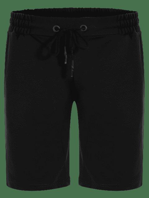 new Side Pocket Drawstring Men Bermuda Shorts - BLACK M Mobile