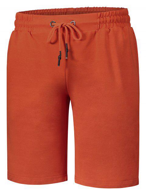 buy Side Pocket Drawstring Men Bermuda Shorts - ORANGE 4XL Mobile