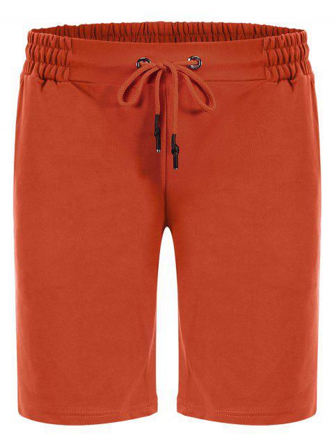 women Side Pocket Drawstring Men Bermuda Shorts - ORANGE 3XL Mobile