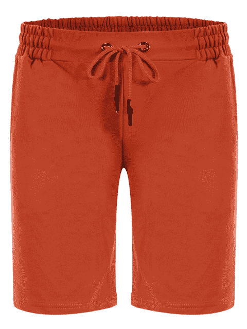 new Side Pocket Drawstring Men Bermuda Shorts - ORANGE L Mobile