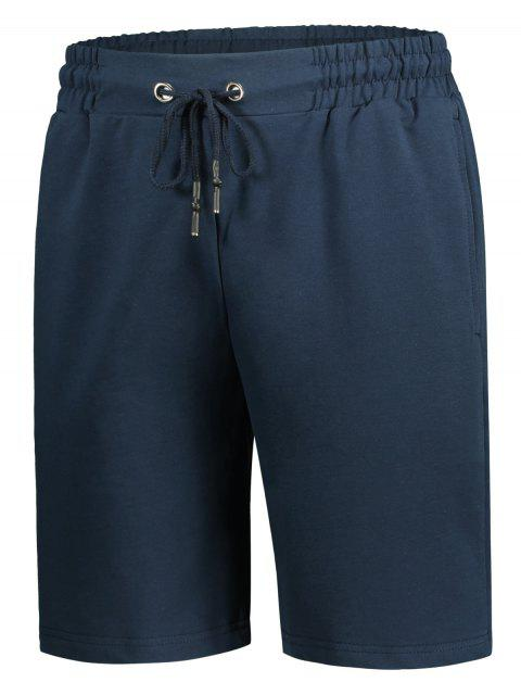ladies Side Pocket Drawstring Men Bermuda Shorts - CADETBLUE 2XL Mobile
