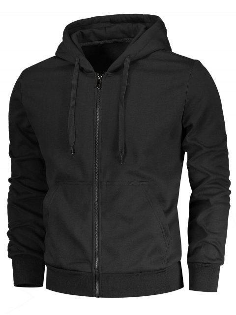 latest Drawstring Kangaroo Pockets Zip Up Hoodie - BLACK 2XL Mobile