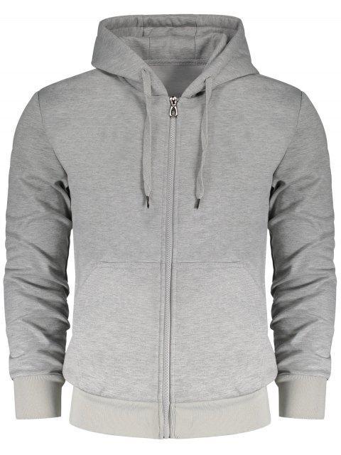 fancy Drawstring Kangaroo Pockets Zip Up Hoodie - GRAY 3XL Mobile