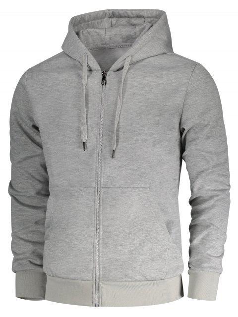 sale Drawstring Kangaroo Pockets Zip Up Hoodie - GRAY XL Mobile