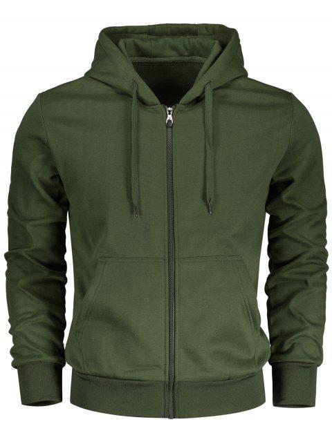 women's Drawstring Kangaroo Pockets Zip Up Hoodie - ARMY GREEN L Mobile