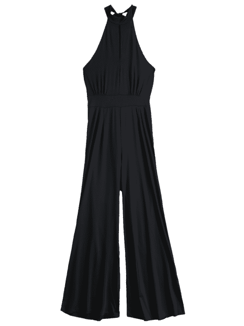 hot Black Halter Wide Leg Jumpsuit - BLACK L Mobile