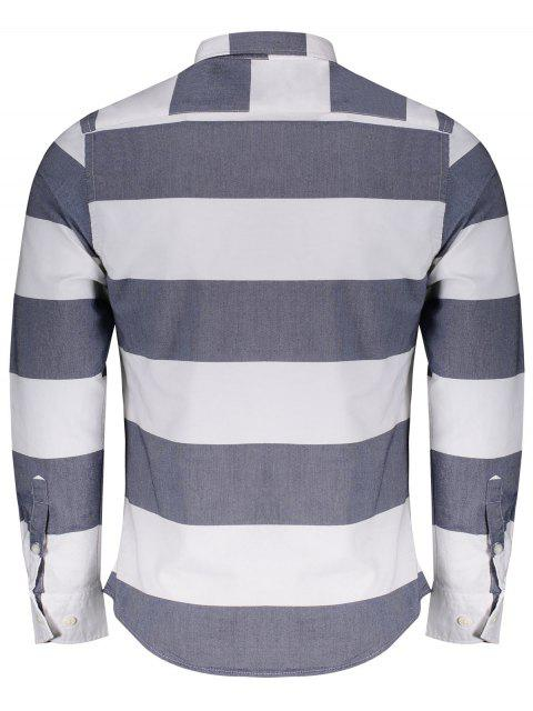 ladies Single Breasted Pocket Striped Shirt - BLUE AND WHITE 4XL Mobile
